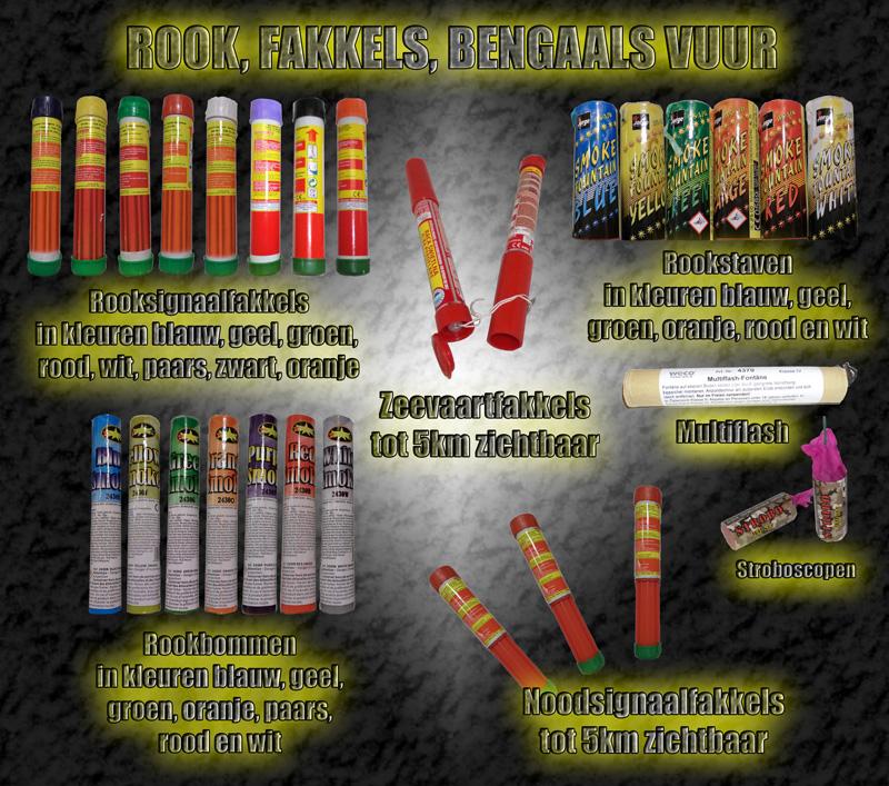 Rook, fakkels en bengaals vuur